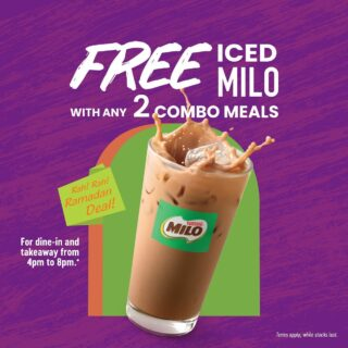 Who can resist an iced Milo especially when it comes FREE with any 2 combo meals at Taco Bell! Enjoy our special offer during Ramadan from 4pm to 8pm every evening till 12th May.  Kuat dan sihat Malaysia!  T&Cs apply.  #LiveKawKaw #LiveMas #TacoBellMalaysia